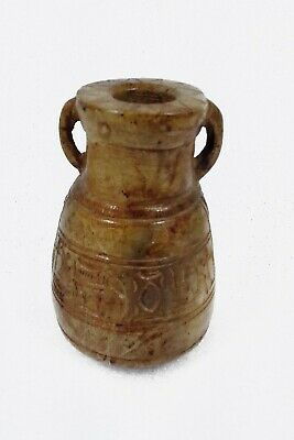 Egyptian Antique Handmade Decorated Stone Pottery Flask Hieroglyphic Ceremonies
