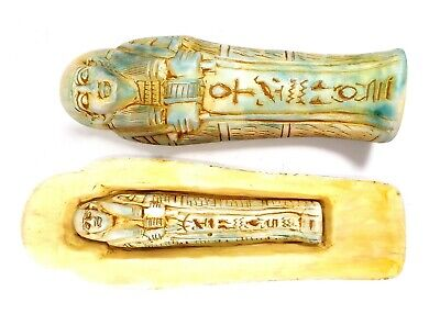 Egyptian Antique Coffin Sarcophagus Ushabti Statue Mummy Stone Hieroglyphics