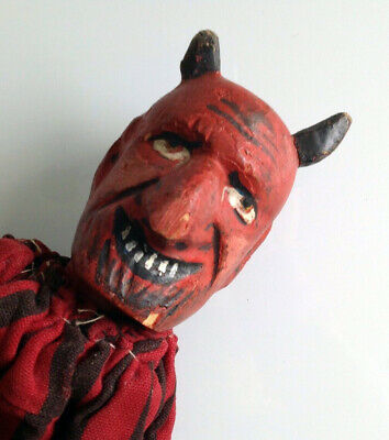 Antique 1900- 1920s Carved Wood DEVIL Hand Puppet Punch & Judy, German BIG 18""