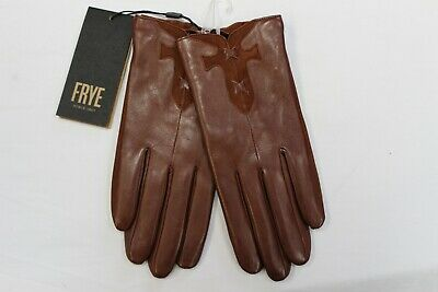 NEW Frye Touch Technology Brown Leather Side Zip Driving Gloves L