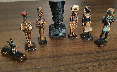 Set of 7 Ancient Egyptian Figurines Collection Ornament miniatures sculptures