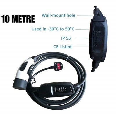 EV Electric Vehicle UK Type 2 Portable Charger 13A, 10 Metre Cable UK Plug