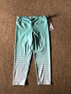Tiffany Blue 90 Degree By Reflex Girls Capri Leggings Size Large/12 Years BNWT