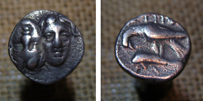 ISTROS.THRACE.(400-350 BC)ISTRH, - Eagle standing left on Dolphin Silver