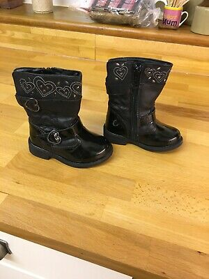 Little girls black patent zip up boots George Size 4 great condition
