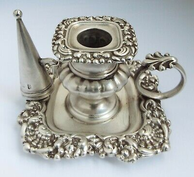 Superb Rare English Antique Georgian 1825 Solid Silver Chamberstick With Snuffer