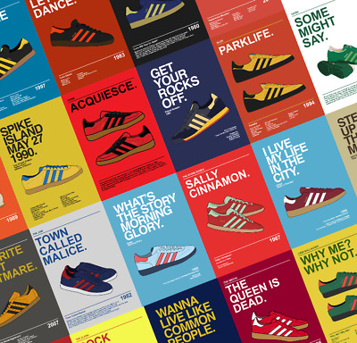 ADIDAS CASUALS Indie/Rock Manchester Posters A5,A4,A3,A2 Oasis - Stone Roses