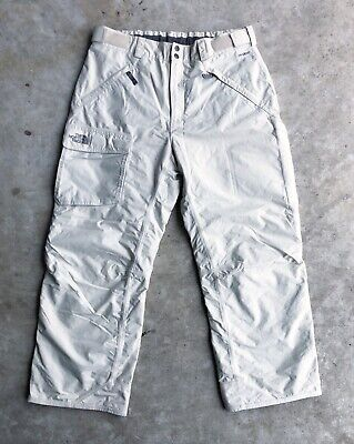 THE NORTH FACE Mens Large insulated waterproof ski snow pants HYVENT White