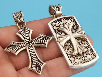 Unique Chinese Tibet Silver Pendant Cross Spiritual Old Tide Gift