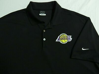 Sz M-XL Black Lakers Nike Dri-Fit Mens Polyester #84A Polo Shirt