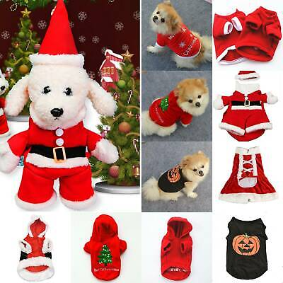 Pet Dog Christmas Clothes Puppy Hoodie Sweater Jacket Jumper Xmas Outfit Costume