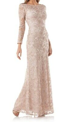 JS Collections NEW Beige Soutache Mesh Women's Size 8 Gown Dress $150- #254