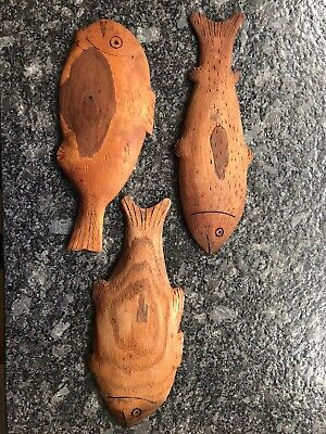Antique Hand Carved Wooden Fish on Cherry Wood to Hang Rustic Decor - 1930s
