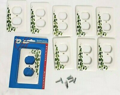 LOT of 9 WHITE PORCELAIN IVY SINGLE WALL PLATE OUTLET PLUG IN CERAMIC COVERS