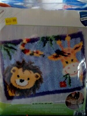 "Latch Hook Kit "" Jungle Friends "" 22"" x 16"" New by Vervaco"