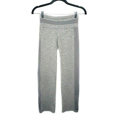 Ivivva Lululemon Girl's Striped Gray Stretchy Athletic Pants Sz 10 Ruched Yoga