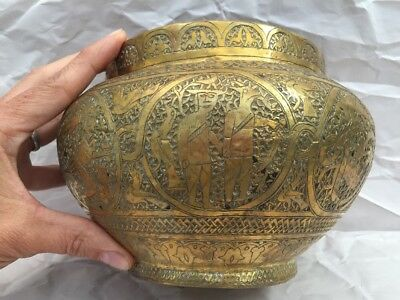 Antique Brass Hand Etched Stamped Ornate Vessel 8 Different Scenes from India