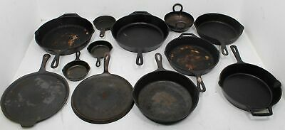 Assorted Cast Iron Lot Skillets Pans Small Large Antique Style Pot With Handles
