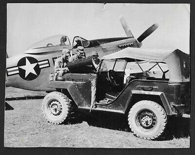Korean War Photo, 3 Gi's Examining A Captured Russian Jeep,W/ P51 In Background.