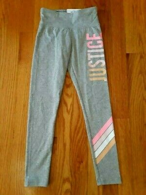 """Justice Active Girls' Gray High Waist Leggings, Size 8 - """"JUSTICE"""" Graphic"""