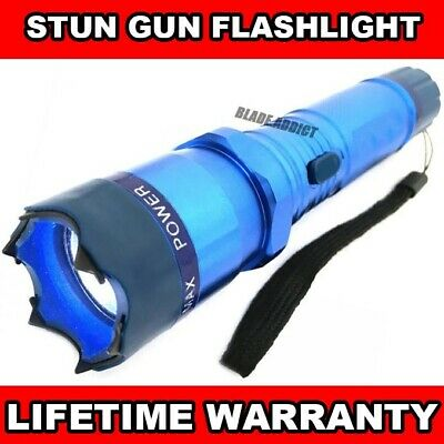 BLUE METAL Military Tactical Stun Gun 999MV w/ LED Flashlight Self Defense Tool