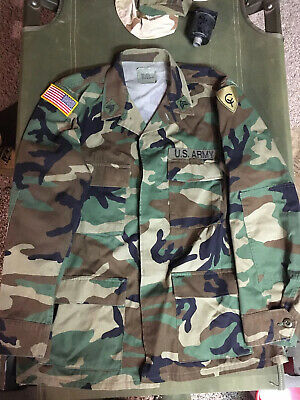 NEW US Army M81 Woodland Camo BDU Uniform Field Jacket, Size Medium Regular