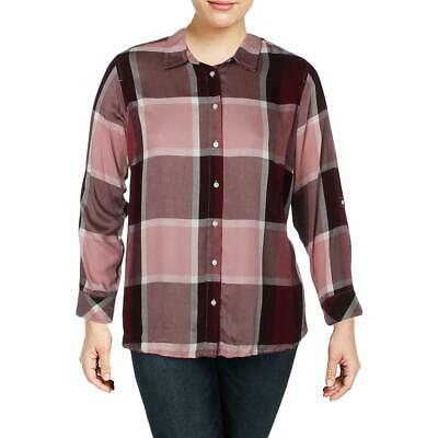 Tommy Hilfiger Womens Red Plaid Casual Button-Down Top Shirt Plus 1X BHFO 0122