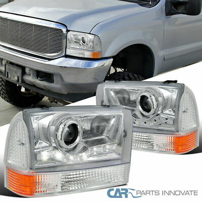 For 99-04 F250 F350 F450 Excursion Clear SMD LED Projector Head Lamps w/ Corner