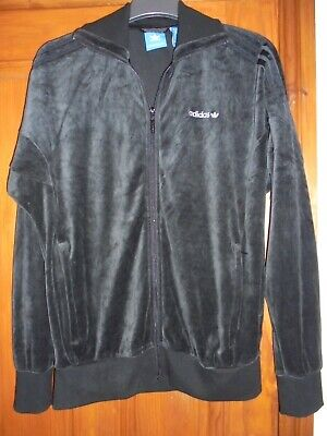 adidas size m black velour full zip jacket/ tracksuit top vgc