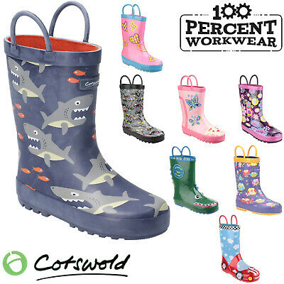 Cotswold Puddle Pull On Waterproof Childrens Wellington Boots Wellies Boys Girls