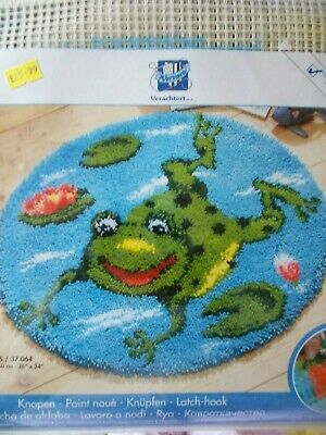 "Latch Hook Kit ""Frog on pond"" 26"" x 24"" New by Vervaco"