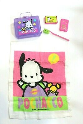 Vintage 1992 Sanrio POCHACCO Toiletry Case Kit NEW Washcloth Soap Toothbrush