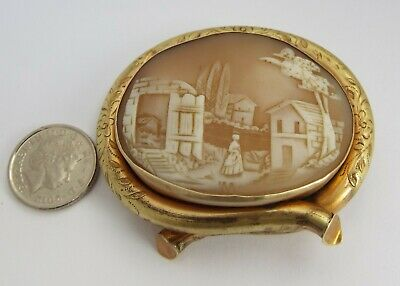 LOVELY ENGLISH ANTIQUE 19TH CENTURY VICTORIAN c1880 CARVED SHELL CAMEO BROOCH