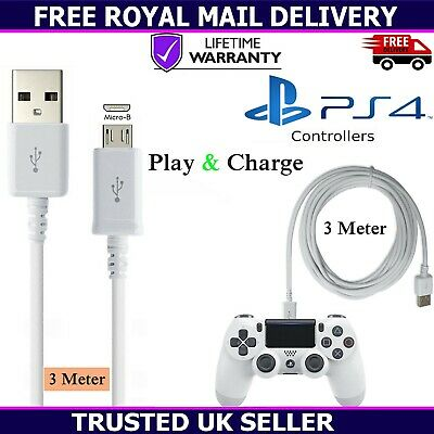 3 Metre Extra Long Micro USB Charger Cable For Sony PS4 PlayStation 4 Controller