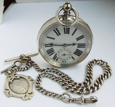 Lovely Large Clean Working Antique 1900 Solid Silver Pocket Watch & Albert Chain