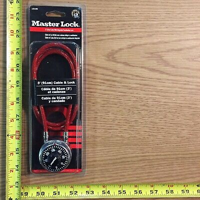 Master Lock Number 1519D Combination Dial Padlock with 3ft Cable