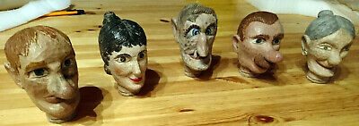 5 Antique German Carved Painted Wood Folk Art Marionette heads lrg 5 inches