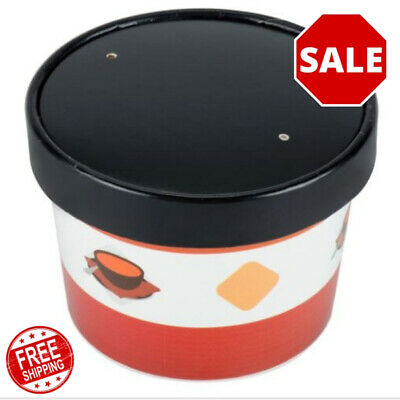 (250 Pack) 12 oz. Double Poly-Coated Paper Soup Hot Food Cup with Vented Lid