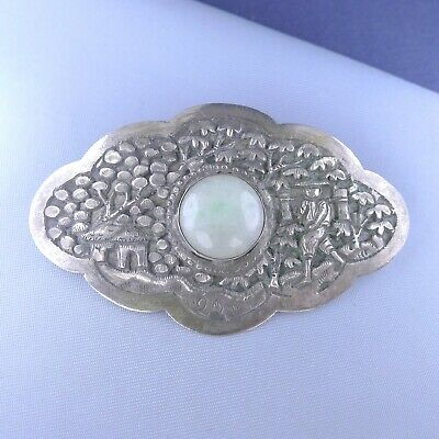 Antique Sterling Silver Chinese Jade Brooch