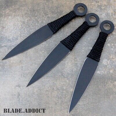 "3PC 6.5"" Ninja Tactical Combat KUNAI Throwing Knife Set w Sheath Hunting NARUTO"