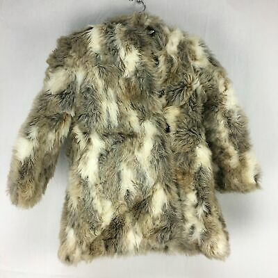 Vtg Philadelphia Fashions Cream Tan Childrens Animal Fur Hooded Coat