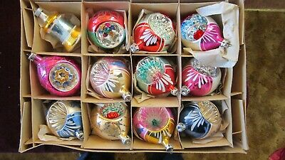Antique 12 Indented Hand Painted Poland Christmas Tree Ornaments in Original Box