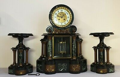 antique French marble visible escapement 8 day chime mantle clock with garniture