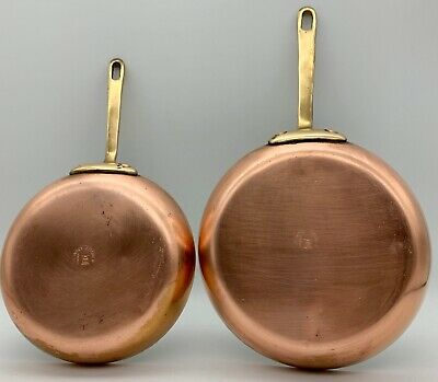 Vintage Country Kitchen Copper Chef Cook Fry Pans Brass Handles Metalware