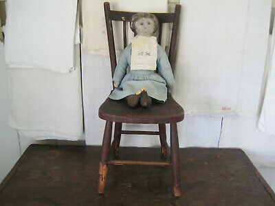 Old Primitive Red Paint Rag Doll Wood Chair Wonderful American Country Find AAFA