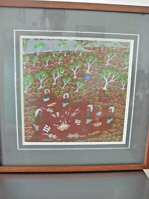 KATIE KEMARRE Prof. Framed Collectable Aboriginal Art. 40 x 40cm