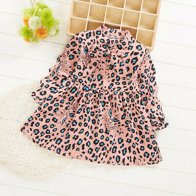Toddler Baby Kids Girls Ruched Bow Cartoon Leopard Print Dress Casual Clothes