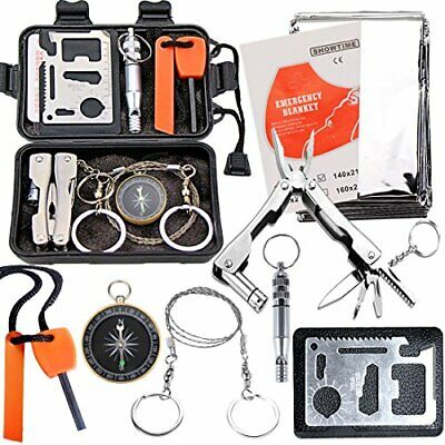 EMDMAK Survival Kit Outdoor Emergency Gear Kit for Camping Hiking Travelling or