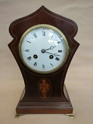 Antique Art Nouveau Inlaid Mahogany Japy Freres French Balloon Clock