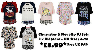 Ladies Character Short Pyjamas Ex Uk Store Novelty Crop Top & Shorts Pj Sets New